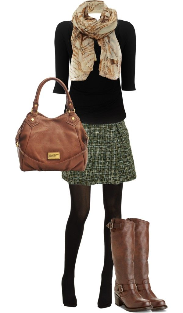 If the skirt was perhaps a tad bit longer, would be perfect for work! Tweed Skirt with black and brown: