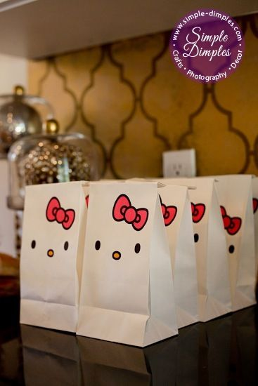 Hello kitty goodie bags – diy with white paper lunch bags- cute for a kids party!