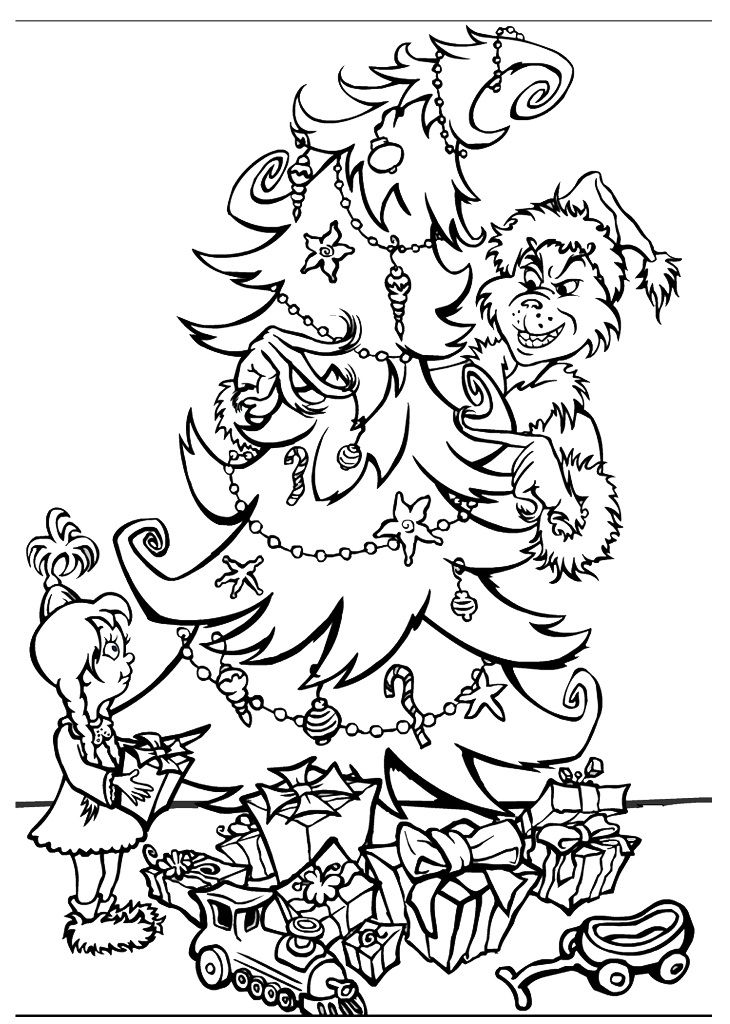 Grinch Christmas Coloring Pages Printable Free Printable