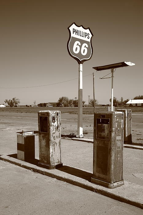 Route 66 Gas Pumps, Adrian, Texas. Rt. 66 in the Panhandle.