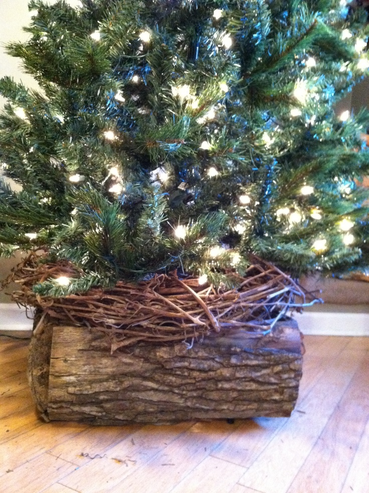 Christmas tree skirt alternative made from rustic wood. No