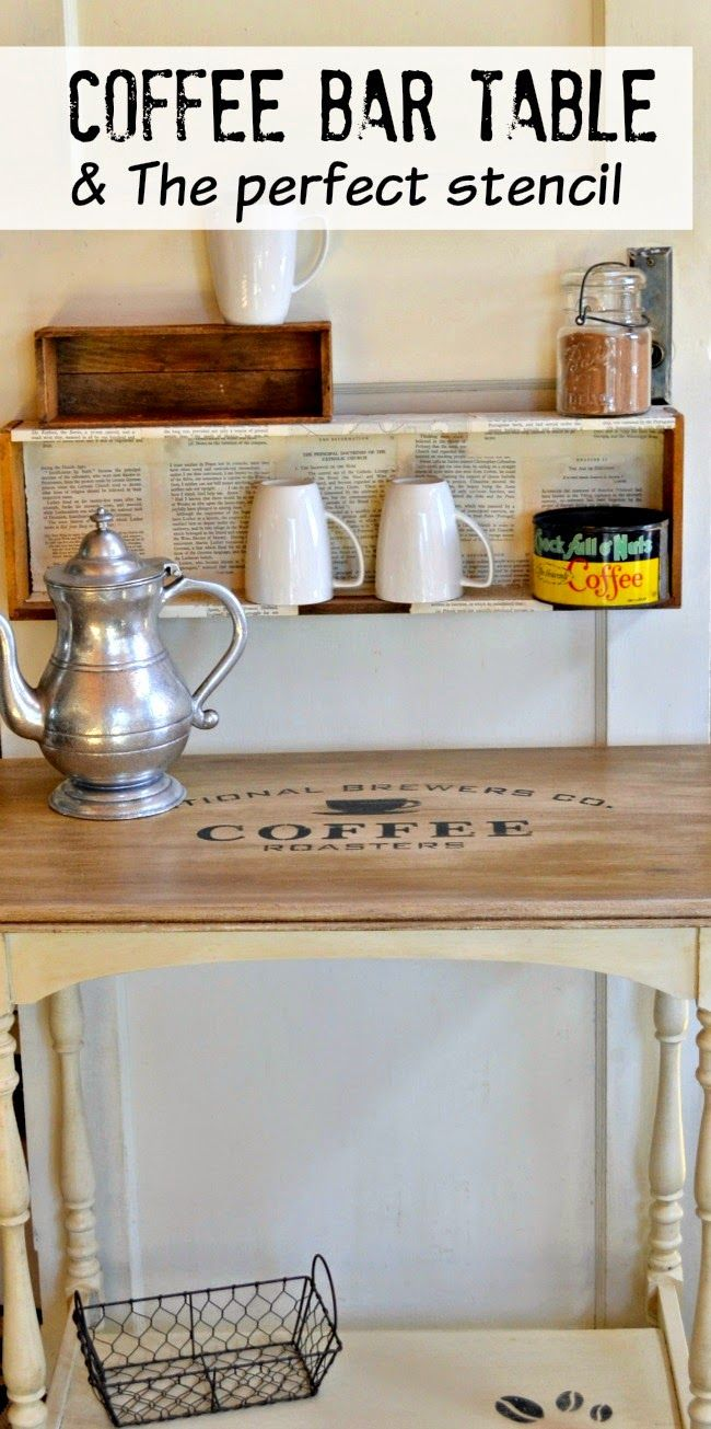 Coffee Station Table and the perfect stencil www.homeroad