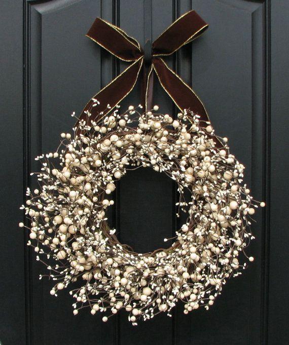 hmmm… try to DIY this? Berry Wreath for Front Door Decor – Sugar Cream Pie Berry Wreath, Brown Velvet Bow, Decoration