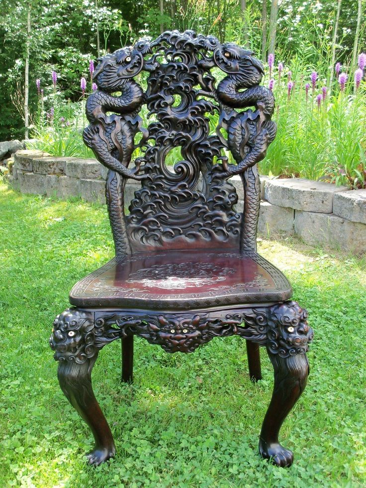 Chinese Carved Chair ANTIQUE VINTAGE CHINESE ORIENTAL