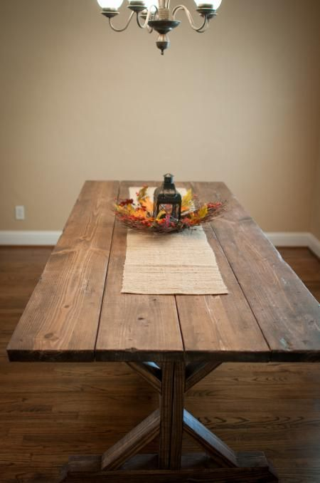 Wide Plank Farmhouse Table Stained Wood Diy Boards Make