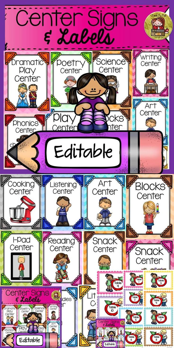 Back to school editable classroom center signs labels