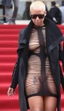 Amber Rose Gareth Pugh Paris Fashion Week Shredded Dress