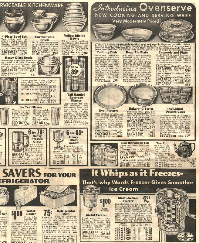 Vintage Mixing Bowls From An Old Montgomery Ward Catalog