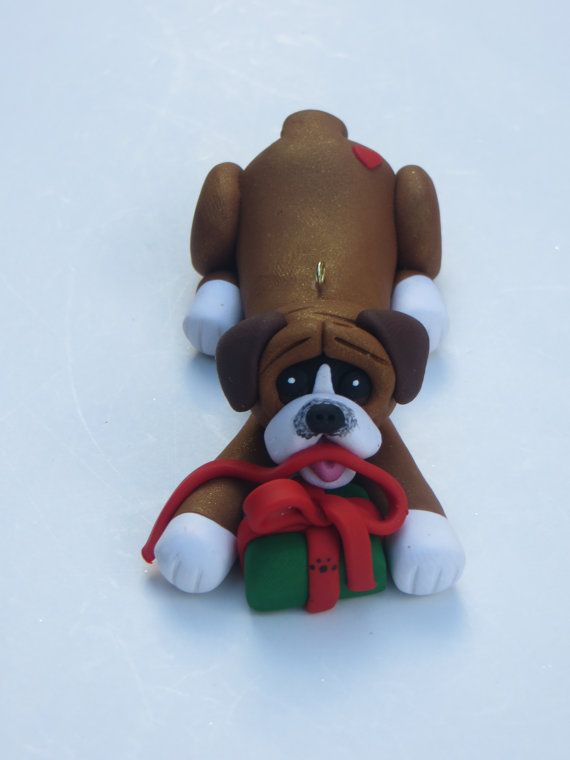 Boxer Dog Christmas Ornament Polymer Clay Figurine