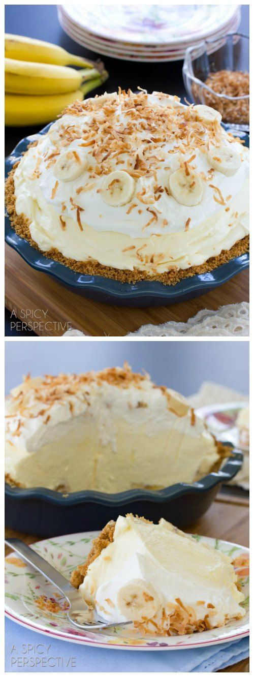 This fluffy banana cream pie recipe is piled high with fresh ripe bananas and creamy vanilla filling, then topped with pillowy