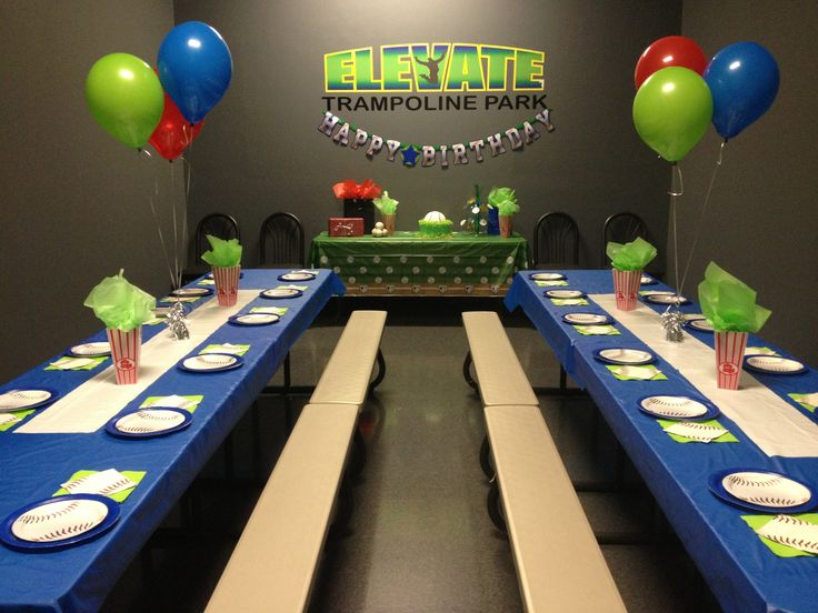 Boys party room at elevate trampoline park in mckinney