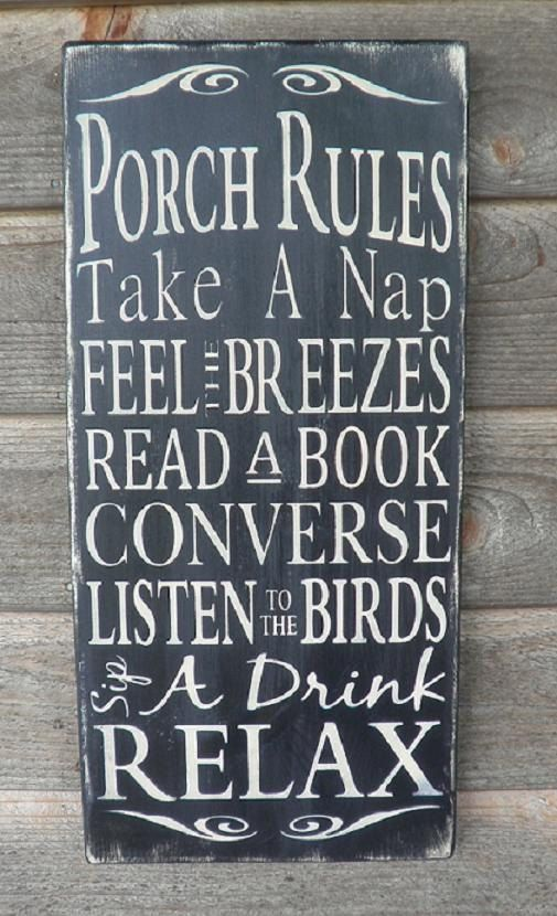 Porch Rules Wood Sign Patio Rules Sign Outside Decor