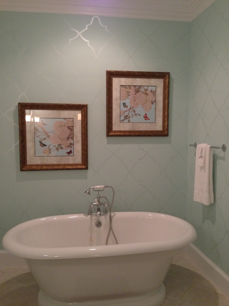 Benjamin Moore Iced Green Paint With A Hand Painted Design