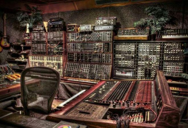 Analog synthesizer studio wires console music studio