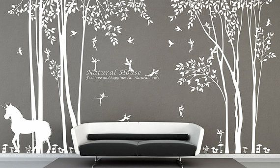 Nature Vinyl Forest Tree Wall Decal With Fairy Decal Baby