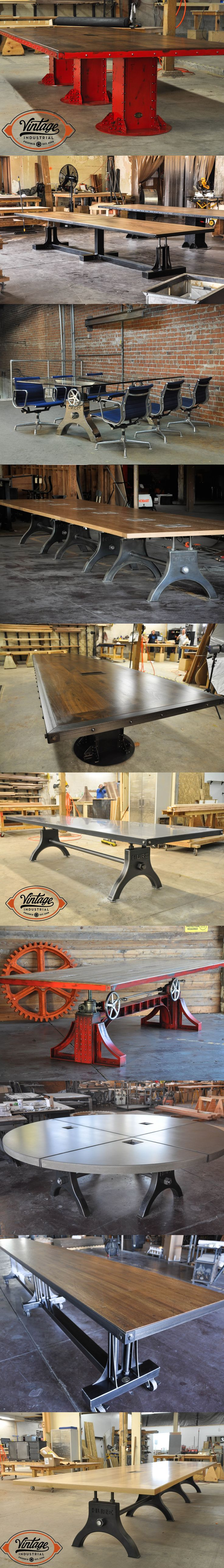 Vintage Industrial offers several conference table options that are all customizable with size, finish, color, dataport, and top