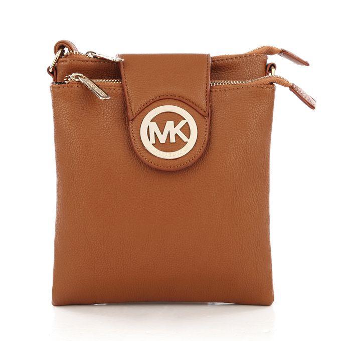 Michael Kors Fulton Pebbled Large Brown Crossbody Bag