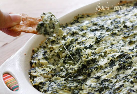 skinny hot spinach and artichoke dip, made with greek yogurt so its low-fat!