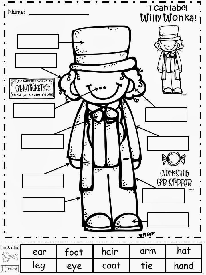free willy wonka labeling sheet.freebie for a teacher