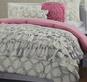 Cynthia Rowley 4pc Ruffled Dorm Comforter Set Twin Xl Gray