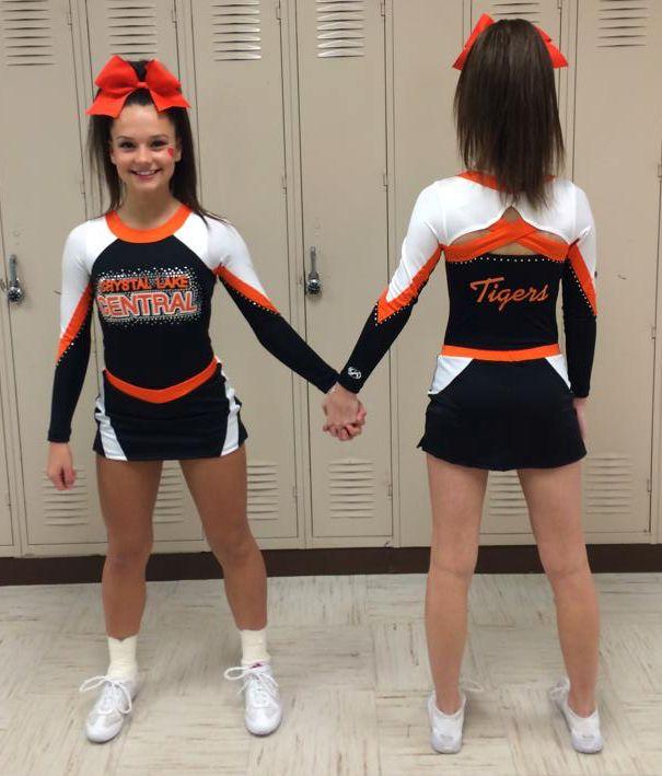 Orange And White Cheerleading Uniforms