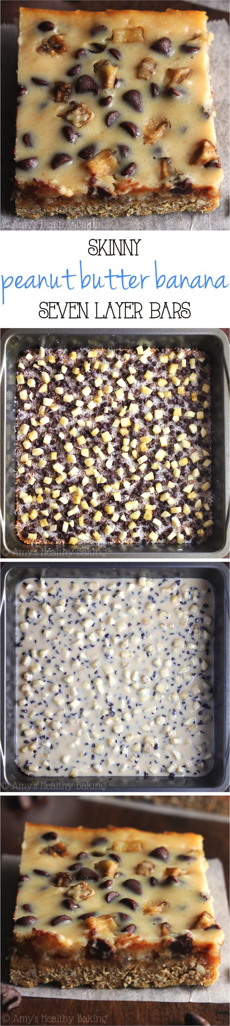 Skinny Peanut Butter Banana Seven Layer Bars – with 3 simple swaps, these magic bars have all of the decadence but NONE of the