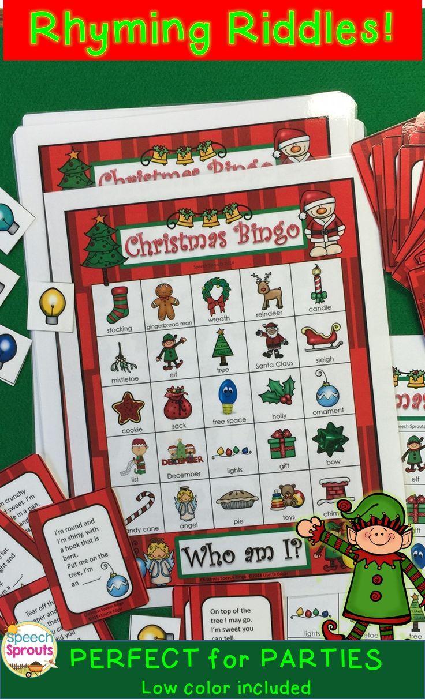 Christmas Bingo Riddles Game Christmas parties, Thinking