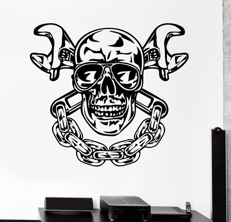 Vinyl Wall Decal Skull Chain Auto Car Repair Service Garage Stickers 270ig Vinyls Cars And We