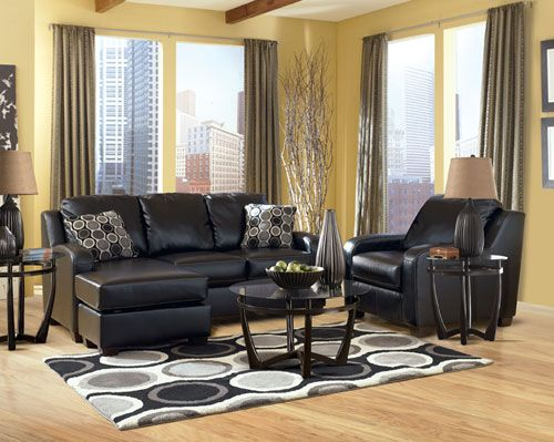 Ashley Devin DuraBlend Black Sectional Sofa Amp Chair