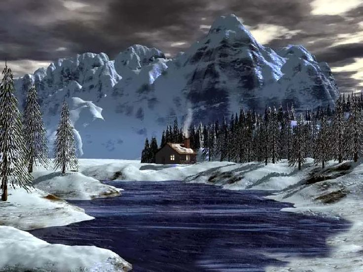 Log Cabins With Mountain Scenery Backgrounds Cabin Blue