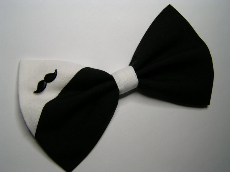 Black and White Mustache Hair Bow,