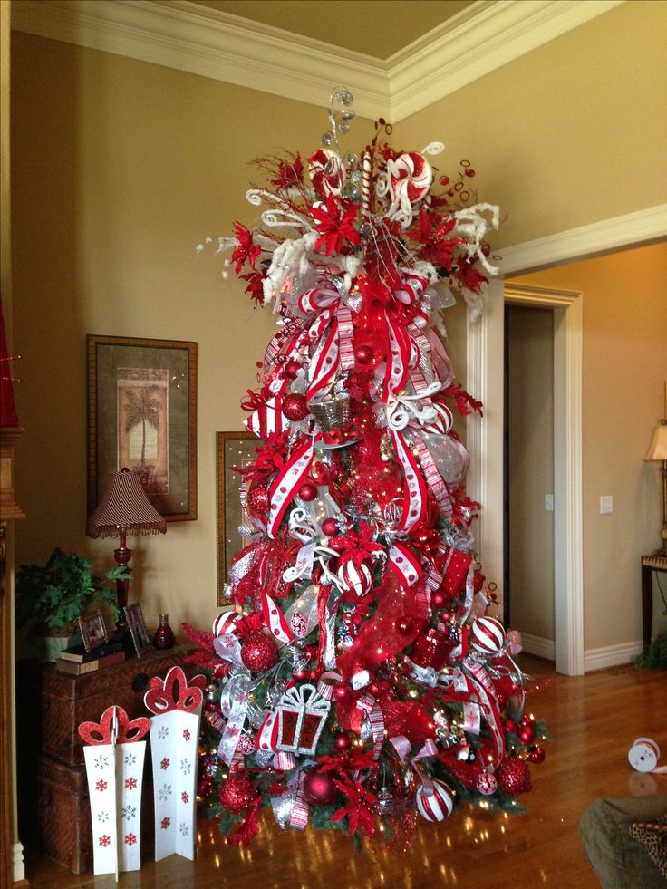 Red and White Candy Cane theme Christmas tree Christmas