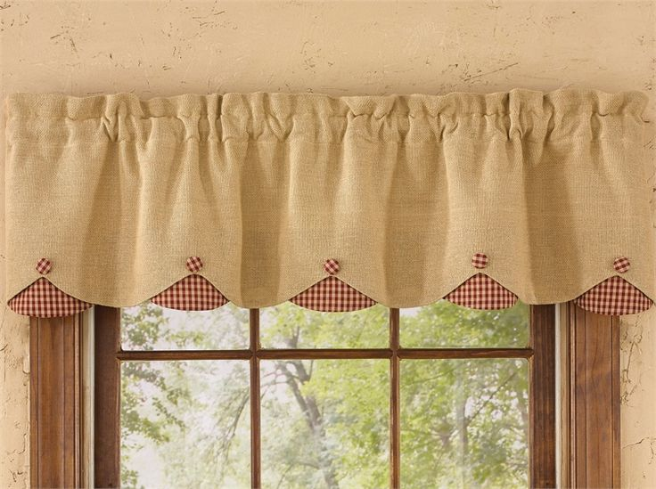 Red Burlap Amp Check Lined Scalloped Curtain Valance 58 Quot X