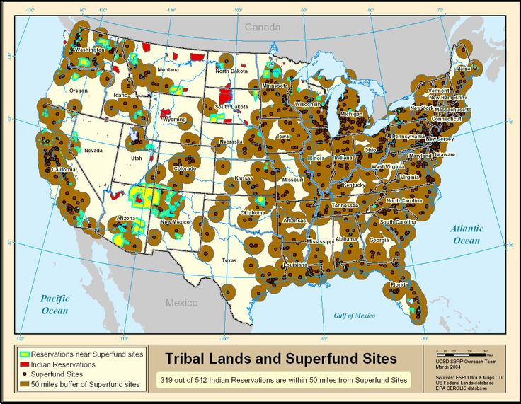 """Tribal Lands and Superfund Sites Image from """"Environmental"""
