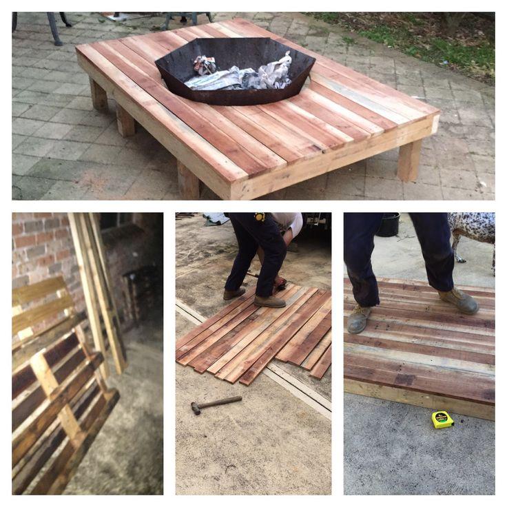 Pallet fire pit table DIY Pinterest Pallet fire pit