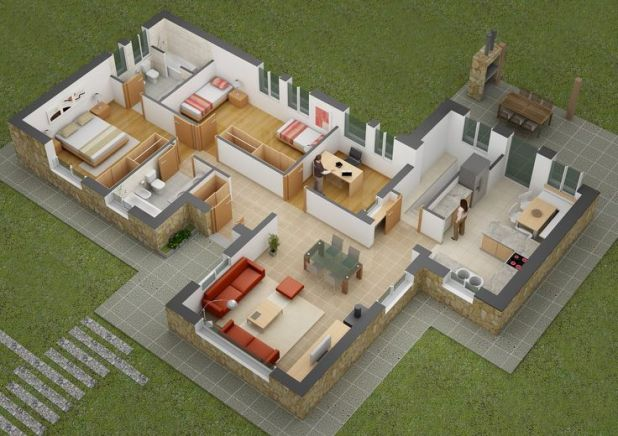 Image result for house floor plans 3d