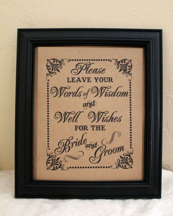 Words Of WISDOM And Well Wishes For The Bride And Groom Wedding Sign Single Sheet Style