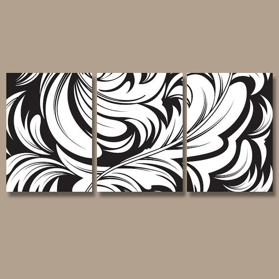 BLACK WHITE Wall Art Damask Artwork Bedroom Pictures CANVAS Or Prints Black White Bathroom
