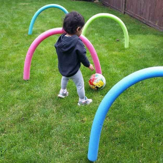 Children's Educational Games:  Turn pool noodles into a backyard obstacle course.