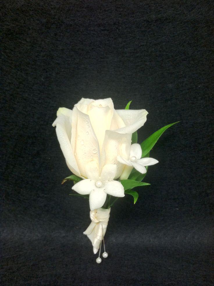 Small Escimo White Rose With Stephanotis Blooms