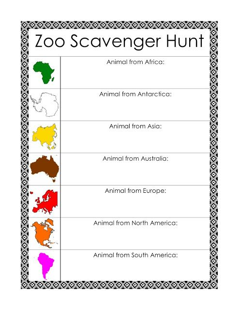 zoo scavenger hunt clues