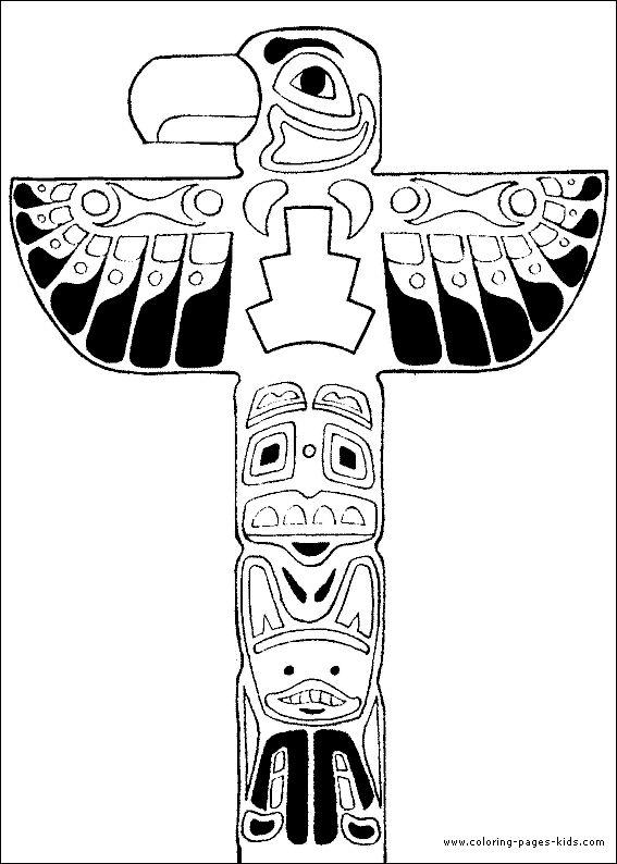 totem pole color page  native american art  pinterest
