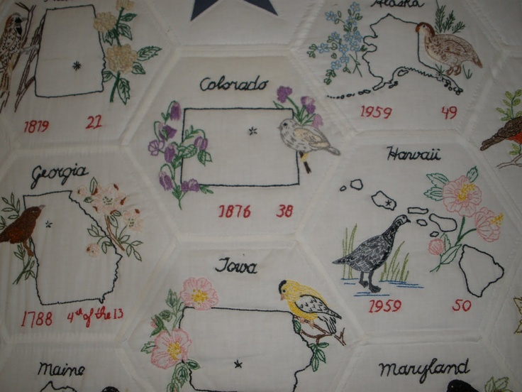 embroidered state birds [USA quilt] 2 Maps + Embroidery