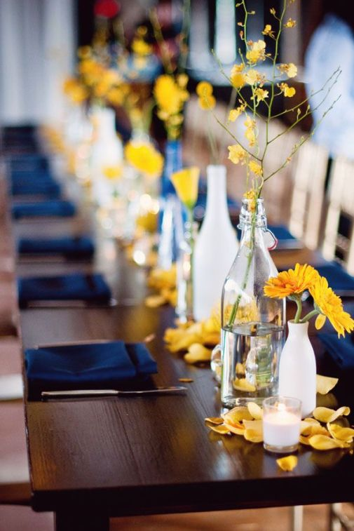 Love to do this for a dinner party at my home! Our table reminds me of this and what a great backdrop for those colors!: