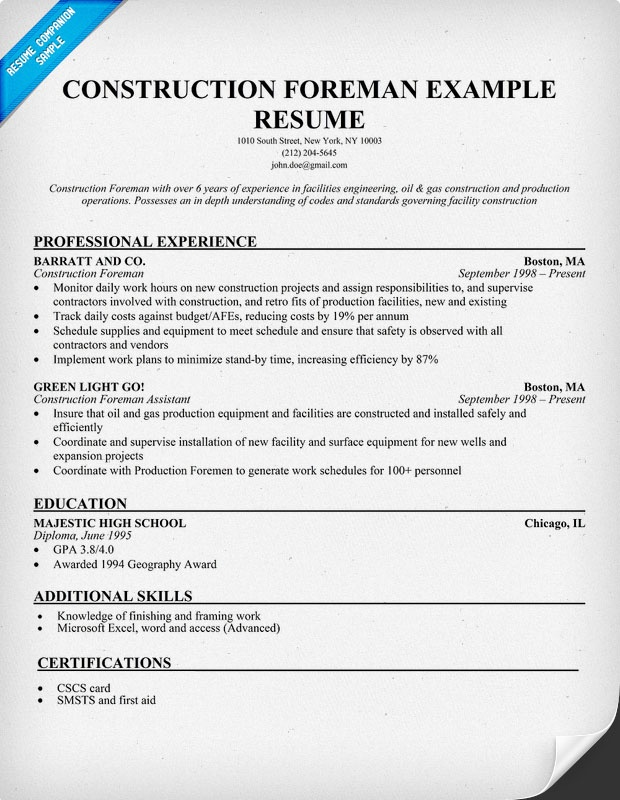 resume construction and sample resume on pinterest