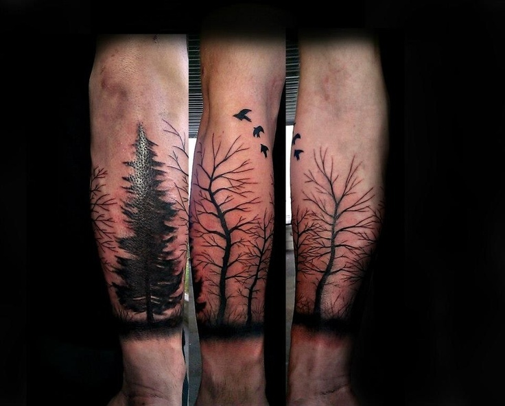 Free hand half sleeve trees done by Aaron Carey of Ink