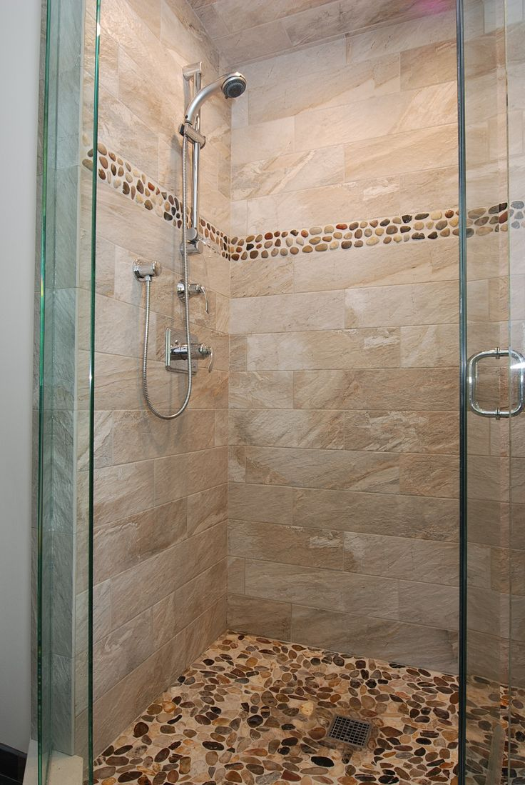Glass Enclosed Shower Gray Brown Tile Shower With St