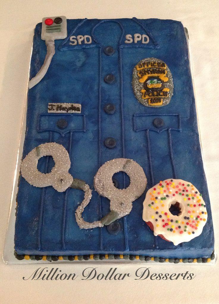 Police Shirt Sheet Cake Buttercream & fondant Sheet