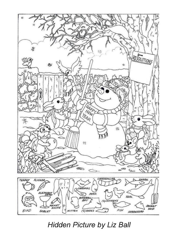 New Year's Day Hidden Picture Puzzle/Coloring Page
