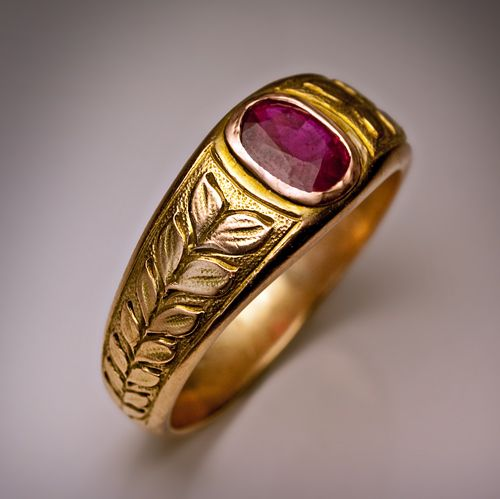 Vintage Mens Ruby Ring Made In Moscow Between 1908 And